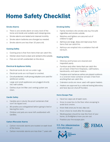 home safety checklist; click image to see larger picture