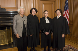 associate justice Elena Kagan investiture ceremony: from left to right: Justice Sandra Day O'Connor (retired), Justice Sonia Sotomayor, Justice Ruth Bader Ginsburg and Justice Elena Kagan