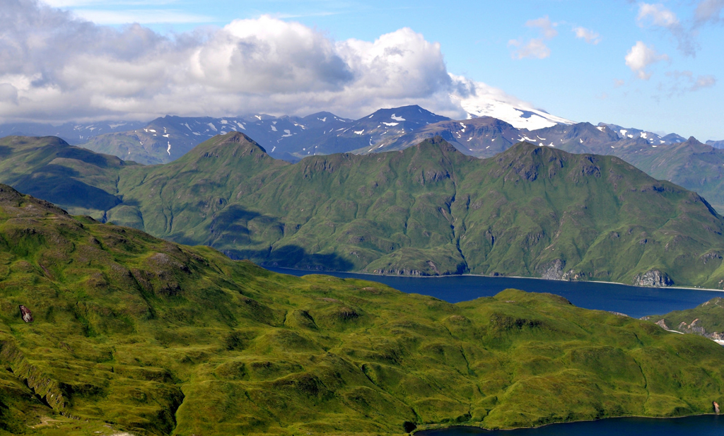 moss-covered slopes of Unalaska Island, over Captains Bay (Photo Credit: Mr. Tom Ward NOAA Teacher at Sea Program, National Oceanic and Atmospheric Administration)